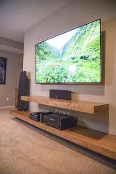 Best DIY Entertainment Center Design Ideas For Living Room - More ideas below: DIY Pallet Entertainment center Ideas Built In Entertainment center Plans Floating Entertainment center Decor Rustic Entertainment center with Barn Door Repurpose Farmhouse Floating Shelves Entertainment Center, Floating Entertainment Center, Floating Shelves Diy, Wood Shelves, Glass Shelves, Home Entertainment Centers, Floating Tv Cabinet, Floating Tv Stand, Tv Wall Shelves
