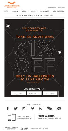"American Eagle Halloween Oct. 31, 2013 email - ""Halloween & 31% Off Ends Soon...‏"""