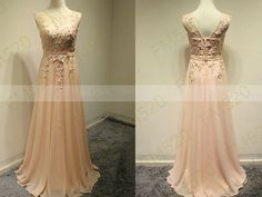 Peach bridesmaid dresses, chiffon bridesmaid dresses, dresses for prom, long bridesmaid dresses on Etsy, $139.00