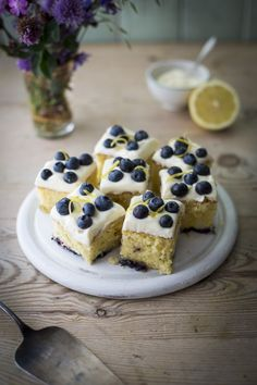 Blueberry & Lemon Slices...Light, zingy sponge with bursts of fruity blueberries topped with a mascarpone frosting. | DonalSkehan.com