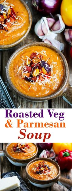 Cheesy Roasted vegetable soup - Oven cooking the veg until slightly charred adds lots of extra flavour to this comforting soup. (Soup And Sandwich Recipes) Oven Cooking, Cooking Recipes, Healthy Recipes, Vegetable Soup Recipes, Healthy Soup, Roasted Vegetable Soup, Vegetable Soups, Winter Vegetable Soup, Roasted Vegetables