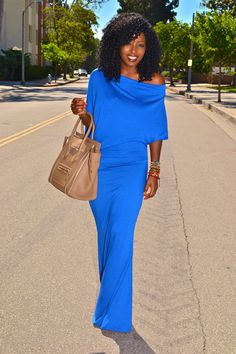 Style Pantry | Electric Blue Off Shoulder Maxi Dress