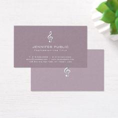 Music Instructor Teacher Glamour Plain Luxury Business Card - sleek personalize diy customize cyo
