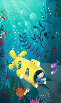 Tim carried on deep into the darkest parts of the ocean Alfie the Cat smelt dinner collective Drawing For Kids, Painting For Kids, Art For Kids, Picture Book Maker, Underwater Art, Children's Book Illustration, Cute Drawings, Art Lessons, Childrens Books