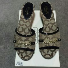 """NIB! COACH CARISSA STYLE A0131 SIZE 8.5 JUST LOWERED FROM $65...NEW IN THE BOX!  NEVER BEEN WORN! COMES FROM A SMOKE FREE AND PET FREE HOME! KHAKI COLOR WITH GOLD """"COACH"""" HARDWARE coach  Shoes Wedges"""