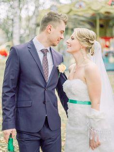 Green apple sash bridal dress | Rustic Romance and Whimsical Carousel Wedding | fabmood.com