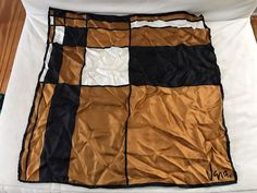 Vintage Vera Neumann Brown Black White Handrolled Edges Silk Scarf 22 x 22"