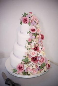 Romantic Cascade Wedding cake