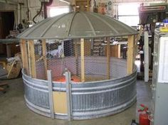 Recycled chicken coop, great idea for areas with lots of predators. (the roof is an old satellite dish! Smaller version of this would make an excellent brooder in the coop! Building A Chicken Coop, Diy Chicken Coop, Chicken Pen, Chicken Waterer, Chicken Wire, Simple Chicken Coop, Chicken Roost, Chicken Coop Pallets, Chicken Shop