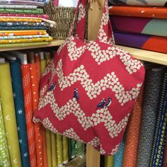 A shopping bag sample we made from some of our Japanese Echino fabric for the Knitting and Stitching Show.