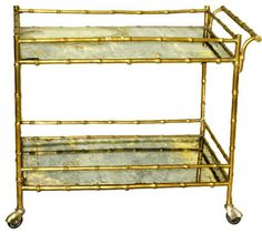 Faux Bamboo Drinks Cart by Bagues - asian - bar carts - Beth Connolly