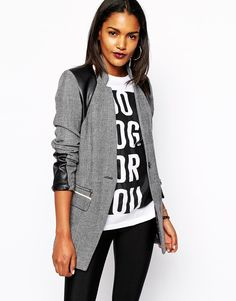 River Island faux leather grey coat~ LOVE
