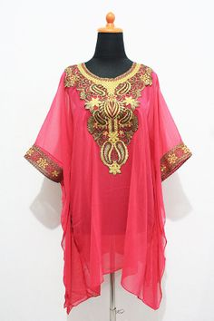 Moroccan Sheer PINK chiffon tunic dress Gold Embroidery Dubai Abaya Short Kaftan