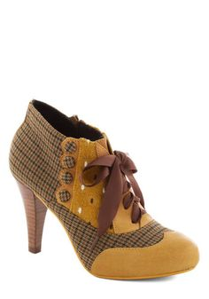Mix and Match Heel in Yellow by Poetic License - Yellow, Multi, Houndstooth, Print, Buttons, Scallops, High, Best, Brown, Party, Work, Vintage Inspired, 20s, 30s, 40s, Variation