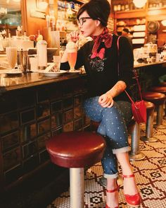 "Keiko Lynn on Instagram: ""A retro outfit in a nostalgic soda fountain. More photos and outfit details on the blog (link in bio)."""