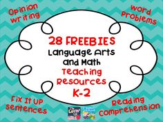 28 FREEBIES - Language Arts and Math Teaching Resources for grades K-2. Please leave feedback on these so that more freebies can be posted!