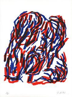 raoul ubac buisson rouge et bleu | Lithographie originale, signée au crayon. Edition Maeght, Paris