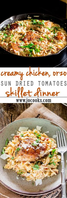 Creamy Chicken, Sun Dried Tomato Skillet Dinner - a delicious creamy orzo one pot dish with chicken thighs. All in one pot, easy quick and fabulous! Use cauliflower instead of orzo One Pot Dishes, One Pot Meals, Pasta Dishes, Easy Meals, Weeknight Meals, Pasta Recipes, Chicken Recipes, Cooking Recipes, Healthy Recipes