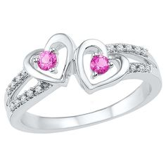 1/20 CT.T.W White Diamond & Created Pink Sapphire Prong Set Double Heart Ring in Sterling Silver (4.50), Size: 4.5