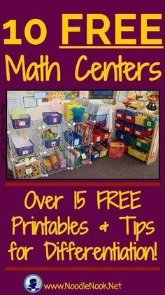 These FREE Math Centers are perfect for K-5, 15 Printables and tips for differentiation!
