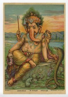 Framed Zari Oleograph - Ganesha By Raja Ravi Varma