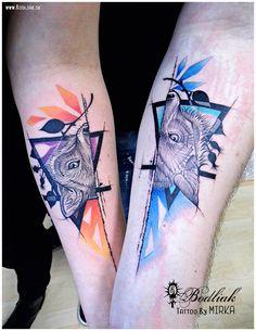 Ona a on ... 2016 #art #tat #tattoo #tattoos #tetovanie #original #tattooart #slovakia #zilina #bodliak #bodliaktattoo #bodliak_tattoo #wolf_tattoo #fox_tattoo #wolf_and_fox_tattoo #she_and_he_tattoo