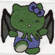 Hello Cthulu (not really sewing but xstitch love)
