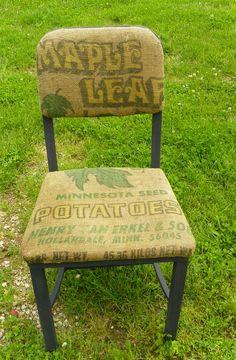 Metal chair covered in burlap