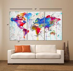 LARGE 3 Panels Art Canvas Print Map world watercolor Abstract Colorful Wall decor Home interior Decoration (framed depth) World Map Painting, World Map Canvas, Canvas Art Prints, Canvas Wall Art, Art Decor, Decoration, Panel Art, Abstract Watercolor, Water Color Abstract