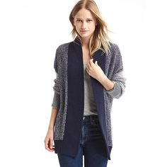 Gap Women Open Front Shaker Cardigan ($25) ❤ liked on Polyvore featuring tops, cardigans, dark night, regular, shawl collar cardigan, open front tops, gap cardigan, gap tops and ribbed knit top