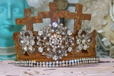 Embellished rhinestone crown hand made French by AnitaSperoDesign
