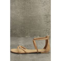 Brietta Tan Suede Flat Sandals ($19) ❤ liked on Polyvore featuring shoes, sandals, brown, tan flat sandals, qupid sandals, brown high heel sandals, high heel shoes and brown flat shoes