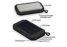 Solar Charger, USB and Light Solar Power Bank Portable Battery Cellphone Charger, Solar Panel for Emergency Outdoor Camping Hiking for iOS and Android cellphones (Black) Solar Phone Chargers, Solar Charger, Portable Battery, Outdoor Camping, Solar Panels, Solar Power, Usb, Sun Panels, Solar Panel Lights