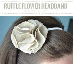You can make a ruffle flower headband quickly and easily with just a few scraps of fabric and some elastic. No sew