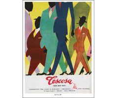 """Poster Tescosa  Men's clothes Milan from the book """"è l'ora della spesa"""" on 1950's advertisement"""