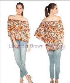 Lavender Brown Flower print off shoulder top