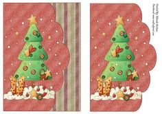 Snowy Christmas Tree Card Front on Craftsuprint designed by Rhonda Brittain - A cute quick card to make for christmas - Now available for download!