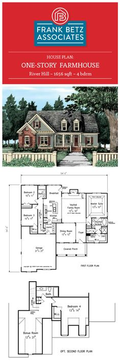 River Hill: 1656 sqft, 4 bdrm, one-story Farmhouse house plan design by Frank Betz Associates Inc.