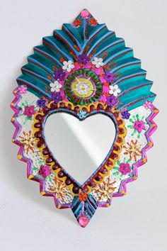 Sacred Heart tin metal mirror / Mexican folk art by TheVirginRose