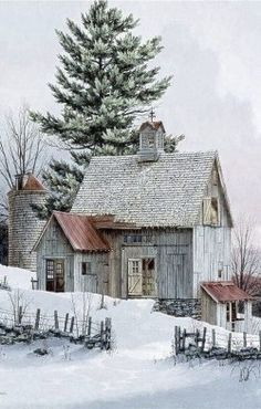 Montana Barn on a snowy day! if you could just transform this little barn into a cottage. Farm Barn, Old Farm, Country Barns, Country Life, Country Living, Winter Schnee, This Old House, Tiny House, Country Scenes