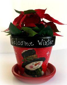 Snowman clay pot decoupage painted snowman planter hostess