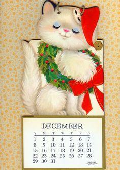 retro white Christmas cat