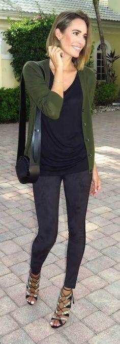 Louise Roe keeps it simple in a green cardigan, a black tee and leggings.   Trousers/Tee:Joe Fresh, Heels: Paul Andrew, Cardigan: Joe Fresh.
