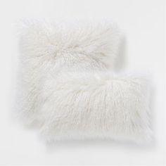Almofada efeito de pelo branco-marfim