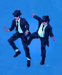 Illustrierte Popkultur-Buddies - love Elwood and Jake!!