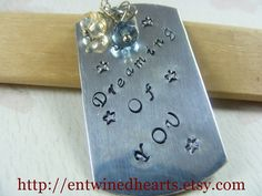 Dreaming of You Handstamped Keychain by EntwinedHearts on Etsy