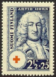 Postage stamp depicting the Finnish-Swedish statesman Arvid Horn