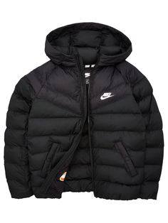 Sportswear Kids Filled Jacket   BlackWhite #blackwhite #filled #jacket #sportswear Nike Winter Coats, Nike Coats, Black Winter Coat, Teen Jackets, Black And White Nikes, White Boys, Nikes Girl, Nike Outfits, Padded Jacket