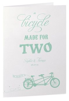 Mint tandem wedding invitations