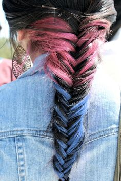pink and blue with dark hair braided